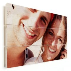 Mann und Frau Foto Auf Holz