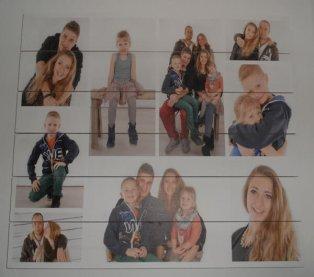 Collage Familienfoto auf Holz