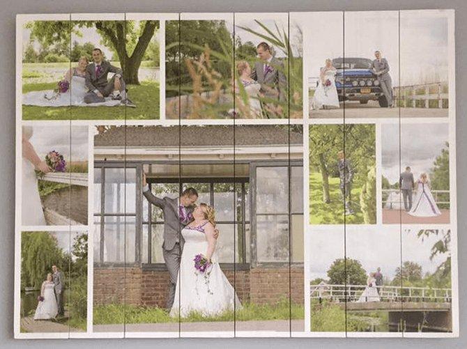 Fotocollage auf Holz Hochzeit
