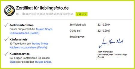 TrustedShops Gütesiegel Zertifikat