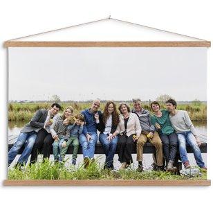 Textilposter mit latten und familienfoto
