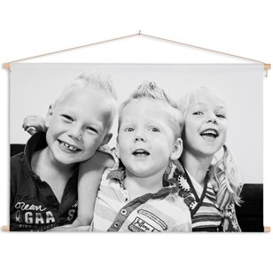 Textilposter mit Familienfoto in Farbe