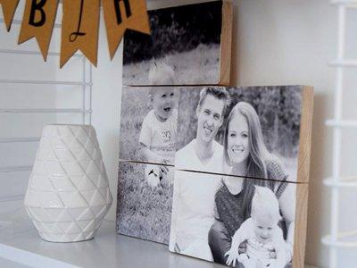 Familienfoto auf Holz