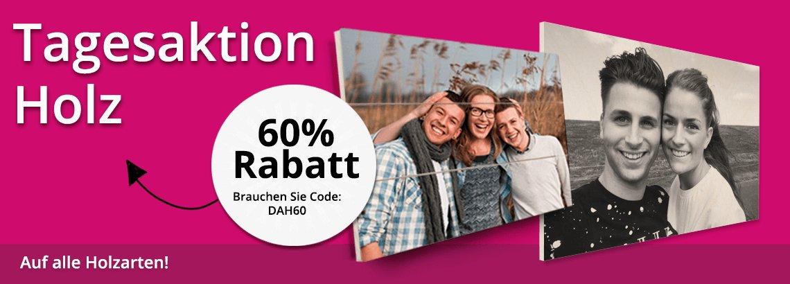 Foto auf Holz Tagesaktion 60% Rabatt