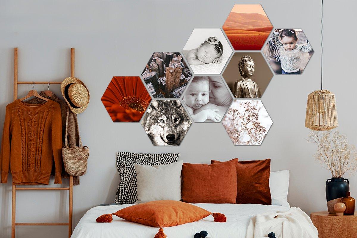 Foto auf Hexagon