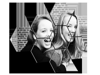 Foto auf mehrere Hexagons