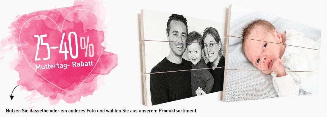 Foto auf Holz Muttertag Rabatt